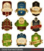 Set of gold-framed labels. Retro design elements.