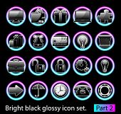 Black glossy icon set 2. Standart collection of design element for your creative word (see other in