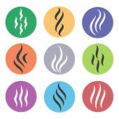 Heat Steam Icons. Colored Hot Aroma Icon Set, Color Steam Or Smell Logo Vector Elements poster