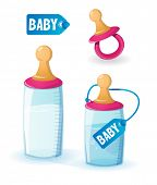 stock photo of teats  - Baby milk bottles and pacifier - JPG