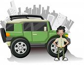 Man and utility vehicle with city on background