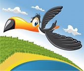 Cartoon toucan flying over beach in Brazil