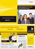 Yellow and black template for advertising brochure with business people