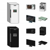 Home Appliances And Equipment Cartoon, Black Icons In Set Collection For Design.modern Household App poster