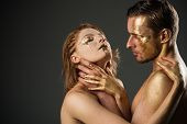 Erotic Play And Foreplay Of Sexy Couple. Erotic Play Of Golden Couple. Dominance And Submission. poster