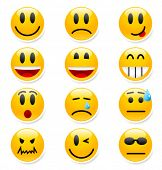 stock photo of smiley face  - Big set of vector smile icons - JPG