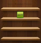 Vector wooden shelves for your design.