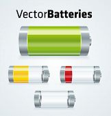 Set of realistic vector batteries with different charges.