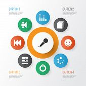 Media Icons Set With Satellite, Previous, Categories And Other Equalizer Elements. Isolated Vector I poster