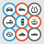 Automobile Icons Set With Crossover, Stop, Truck And Other Autocar Elements. Isolated Vector Illustr poster