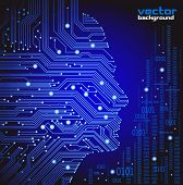 foto of informatics  - abstract blue vector background with high tech circuit board - JPG