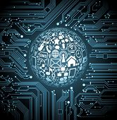 abstract vector background with high tech circuit board.communication in the global computer network