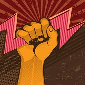 Powerful fist with flash. Vector illustration.