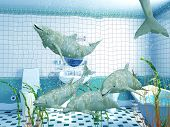 image of cetacea  - the dolphins in bathroom interior  - JPG