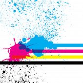 Paint splashes with cmyk colors. Vector illustration.