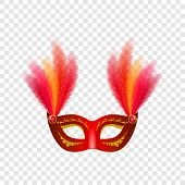 Carnival Mask Venetian Mockup Set. Realistic Illustration Of 4 Carnival Mask Venetian Mockups For On poster