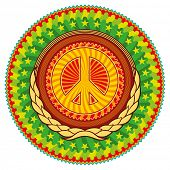 picture of woodstock  - Colorful psychedelic hippie emblem with peace sign - JPG