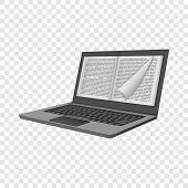 Ink Laptop Reading Mockup. Realistic Illustration Of Ink Laptop Reading Mockup For On Transparent Ba poster