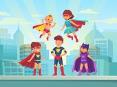 Superhero Kids Team. Comic Hero Kid In Super Costume With Cloak On Urban Roof. Children Superheroes  poster