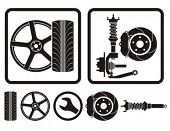 Wheel rim, tire, shock absorber vector icons.
