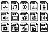 File type icons: audio & video set. All white areas are cut away from icons and black areas merged.