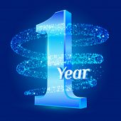 1 Year Shine Anniversary 3d Logo Celebration With Glittering Spiral Star Dust Trail Sparkling Partic poster