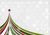 Постер, плакат: Рождественская елка баннер в ретро стиле гранж