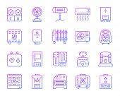 Hvac Thin Line Icons Set. Outline Vector Sign Kit Of Climatic Equipment. Fan Linear Icon Collection  poster