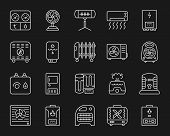 Hvac Thin Line Icons Set. Outline Monochrome Web Sign Kit Of Climatic Equipment. Fan Linear Icon Col poster