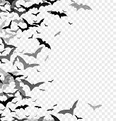 Black Silhouette Of Bats Isolated On Transparent Background. Halloween Traditional Design Element. V poster