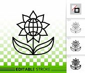 Flower Thin Line Icon. Outline Web Sign Of Sunflower. Globe Linear Pictogram With Different Stroke W poster