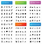 150 vector icons divided into five categories (internet, economy, audio, misc. media and environment
