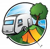 foto of caravan  - An idyllic camping area with a caravan - JPG