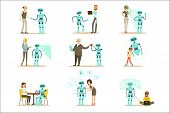 Smiling People And Robot Assistant, Set Of Characters And Service Android Companion poster
