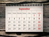 September 1, 2018 in the calendar on the wood background. poster