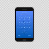 Passcode Interface For Lock Screen, Login Or Enter Password Pages. Vector Phone Id Recognition Scree poster