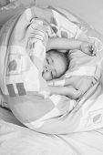 Sleepy Baby In Colorful Blanket. Childhood And Happiness. Small Baby Dreaming. Trust And Tenderness. poster