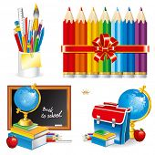 Back to school, composition of the student subjects (set vector illustration).