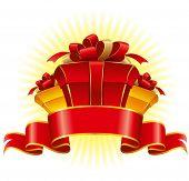 Постер, плакат: Три картон Подарочная коробка с луком и ленты векторные иллюстрации