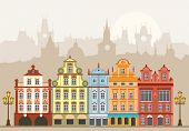 picture of row houses  - Street with houses in different architectural styles and colors - JPG