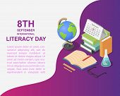 Literacy Day Book Science Library Banner Concept. Isometric Illustration Of Literacy Day Book Scienc poster