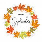Happy September Calligraphy Inscription. Autumn Banner Template. Vector Illustration poster
