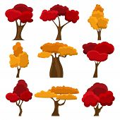Set Autumn Trees In Flat Style. Cartoon Garden Yellow And Red Tree. Nature Environment Organic. Cart poster