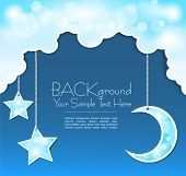 pic of moon silhouette  - Vector blue background with clouds - JPG