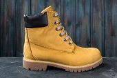 Womens Winter Boots. Yellow Warm Boots For Trekking poster