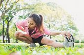 Healthy Young Asian Woman Exercising At Park. Fit Young Woman Doing Training Workout In Morning. You poster