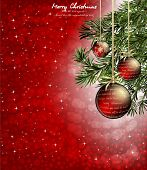 stock photo of blue spruce  - christmas background with baubles and christmas tree - JPG