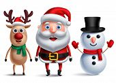 Santa Claus Vector Character With Snowman And Rudolph The Reindeer Wearing Christmas Hats And Scarf  poster