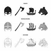 Viking Helmet, Battle Ax, Rook On Oars With Shields, Dragon, Treasure. Vikings Set Collection Icons  poster