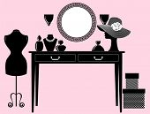 picture of console-mirror  - Stylish black and white beauty parlor with fashion accessories - JPG